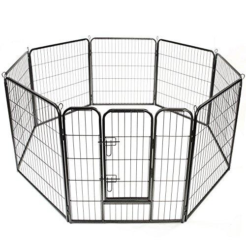 TRESKO Welpenlaufstall 80x80cm Freilaufgehege Welpenauslauf Hundelaufstall Tierlaufstall Hunde, mit Tür und wetterfester Hammerschlag-Lackierung