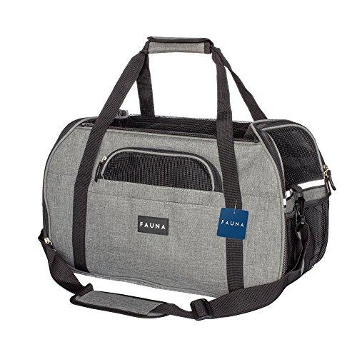 Fauna CARRIER-1001 Pet Travel Carrier Hund/Katze/Puppy-leicht zusammenklappbar Flugzeug Tasche mit weichem Kissen, Dark Grey