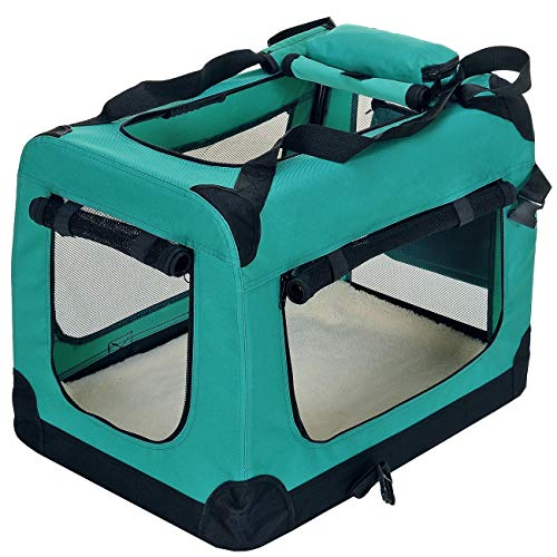 PetViolet Transportbox für Haustiere Hunde Katzen, Faltbar, 70x50x50 cm, Grün