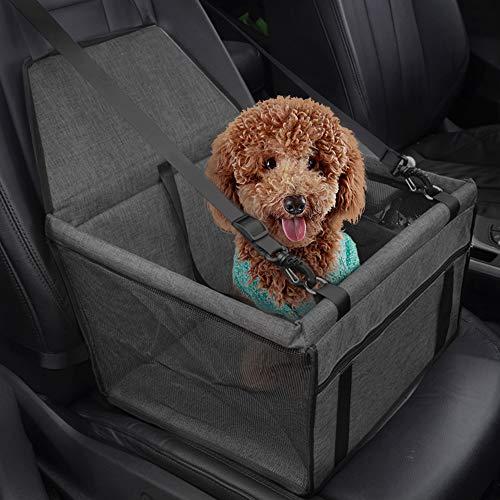 IvyLife Auto-Hundesitz für Kleine Hunde oder Katzen Transporttasche verstellbar aus Oxford-Stoff Wasserdicht Atmungsaktiv Haustier Sicherheit Auto Sitz Doppelt Schicht Verdickt Haustier - Grau