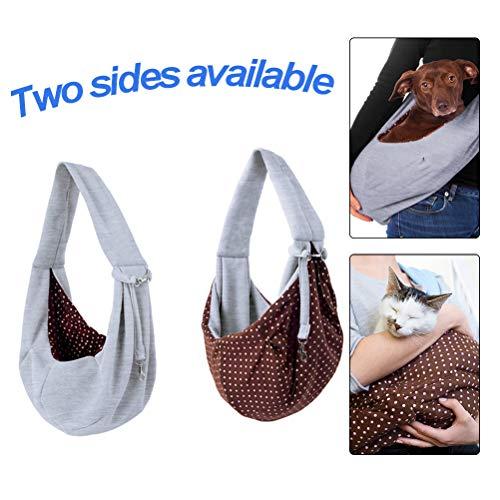 BUYGOO Hund Tragetuch Katze Haustier Schultertasche - Single Schulter Sling Bag, Unterstüzung bis 5kg, komfortable und langlebige Hunde Transporttasche für Kleine Hunde und Katzen
