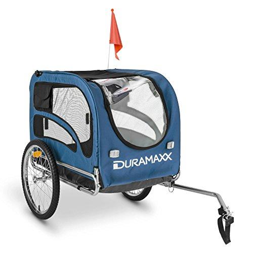 Duramaxx - King Rex, Fahrradanhänger, Hundeanhänger, Lastenanhänger, kleine bis mittelgroße Hunde, Laderaum: 250L Volumen, Belastung:max.40kg, Kugel-Kupplung für Fahrräder mit 26' -28'', blau