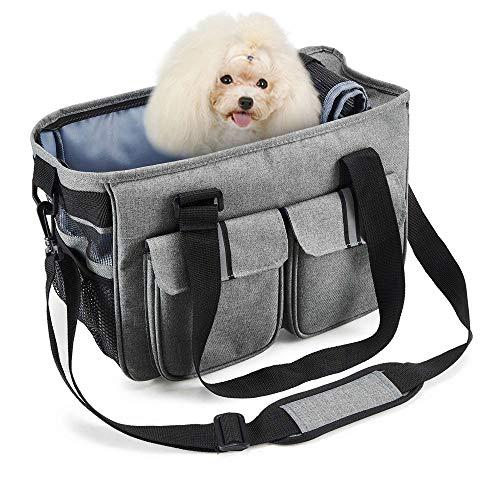 SISVIV Hunde Tragetaschen Transporttasche Katze Faltbar aus Oxford Nylon mit Atmungsaktiven Netzfenster für Kleinen Hund Welpen Katze Etc. (one Size, Grau)