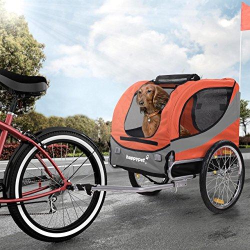 Happypet Hundeanhänger Hundetransporter Fahrradanhänger Hunde Fahrrad Anhänger Regenschutz inkl. Anhängerkupplung Regenschutz Sunset ROT