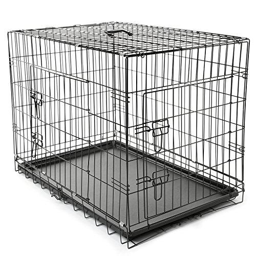 TRESKO Transportkäfig Hundebox für Hunde, Katzen, Welpen und Haustiere in verschiedenen Größen, Drahtkäfig, Hundekäfig, Auto-Transportbox, schwarz, mit 2 Türen, faltbar L (90cm x 60cm x 67cm)